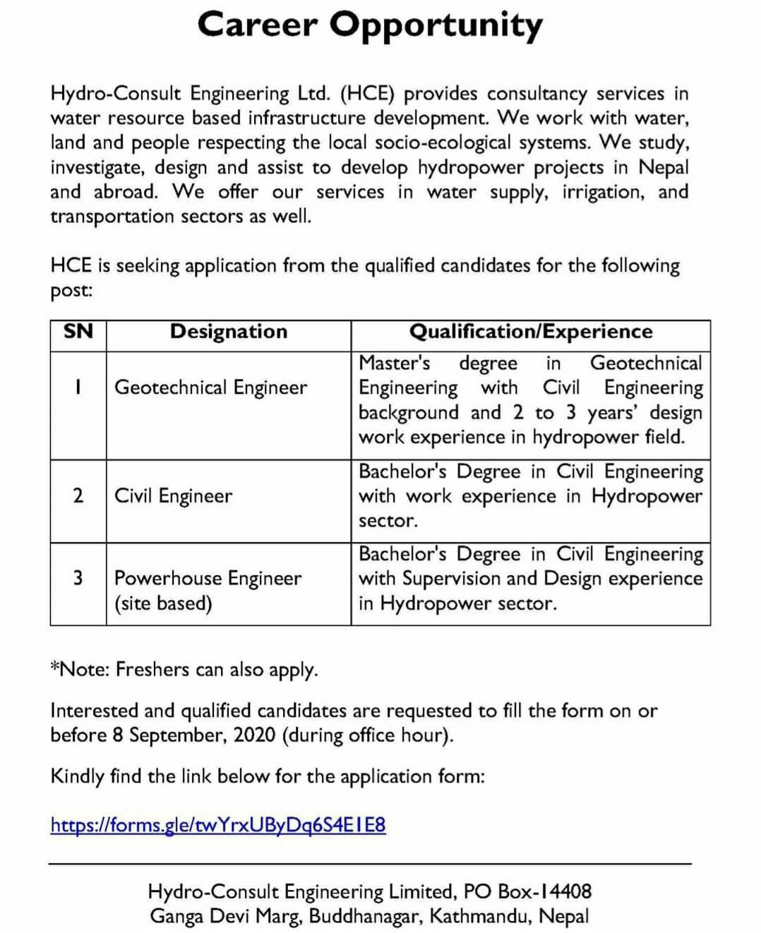 Engineer Vacancy at Hydro-Consult Engineering Limited